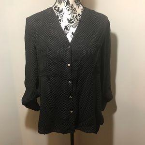 H&M Black w/white polka dot button up top